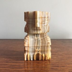 Vintage 70s Solid Marble Tiki Statue Bookend